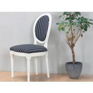Crèmewitte barok stoel Rococo met zwart gestreepte bekleding