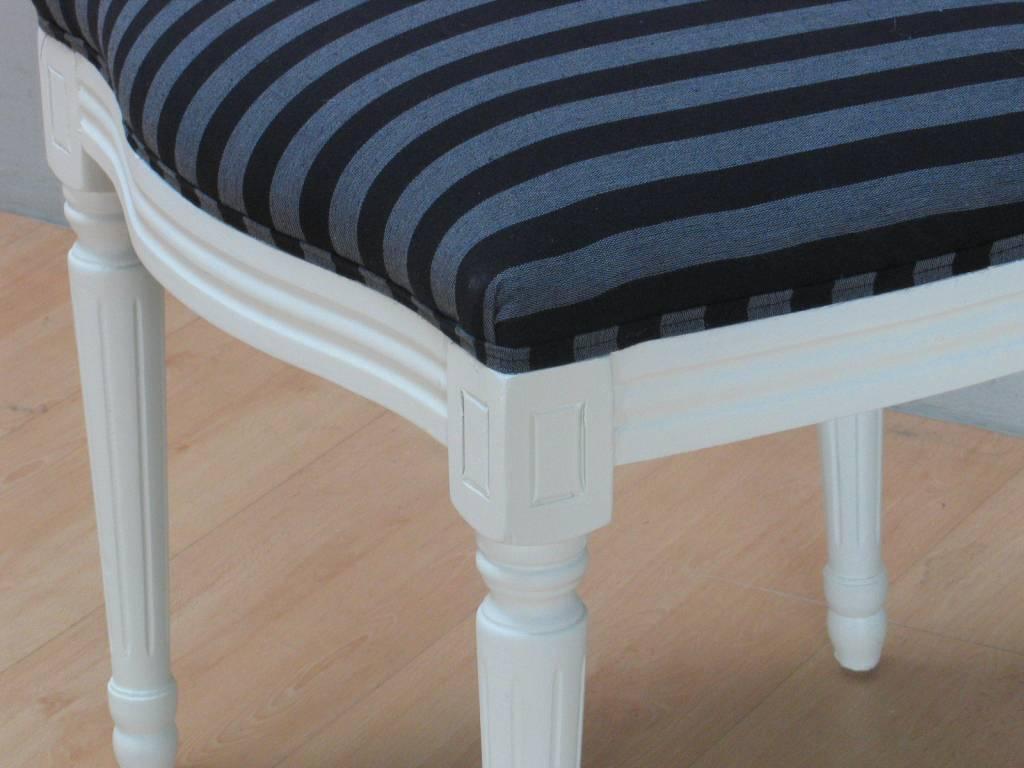 Zwarte Barok Stoel : Crèmewitte barok stoel rococo met zwart gestreepte bekleding