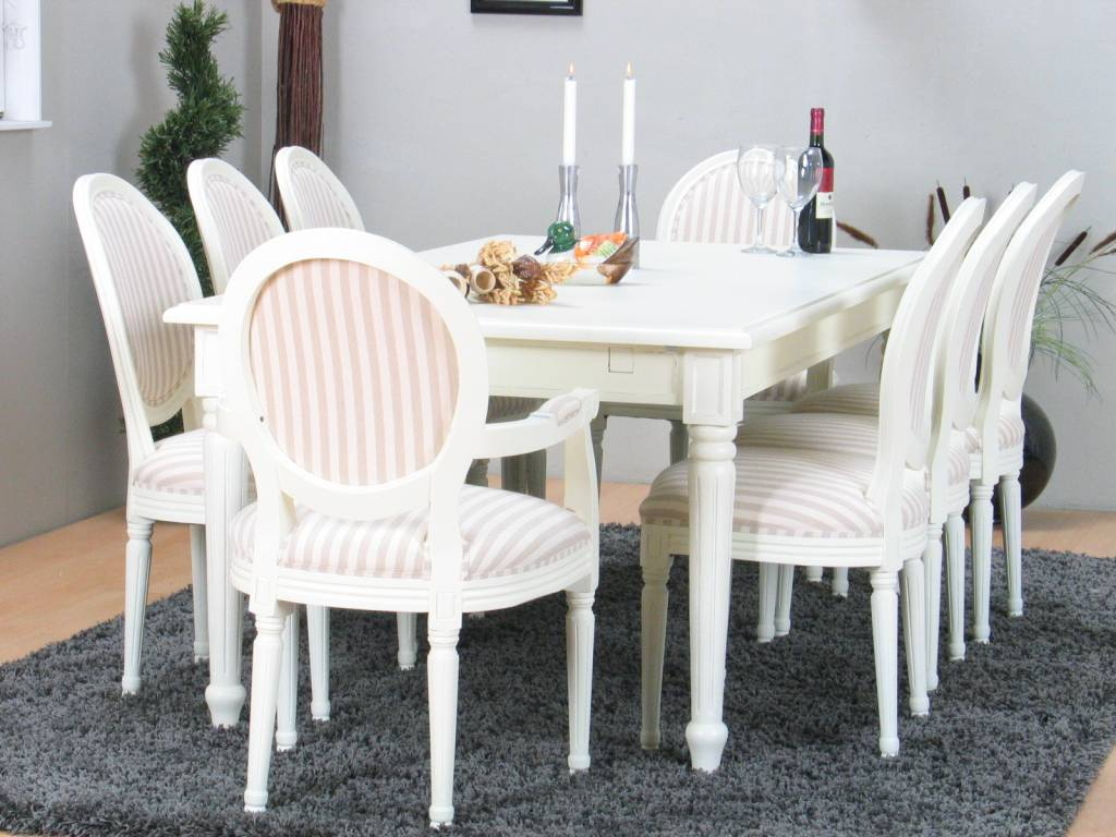 Eetkamer wit Mozart + acht witte barok stoelen Rococo