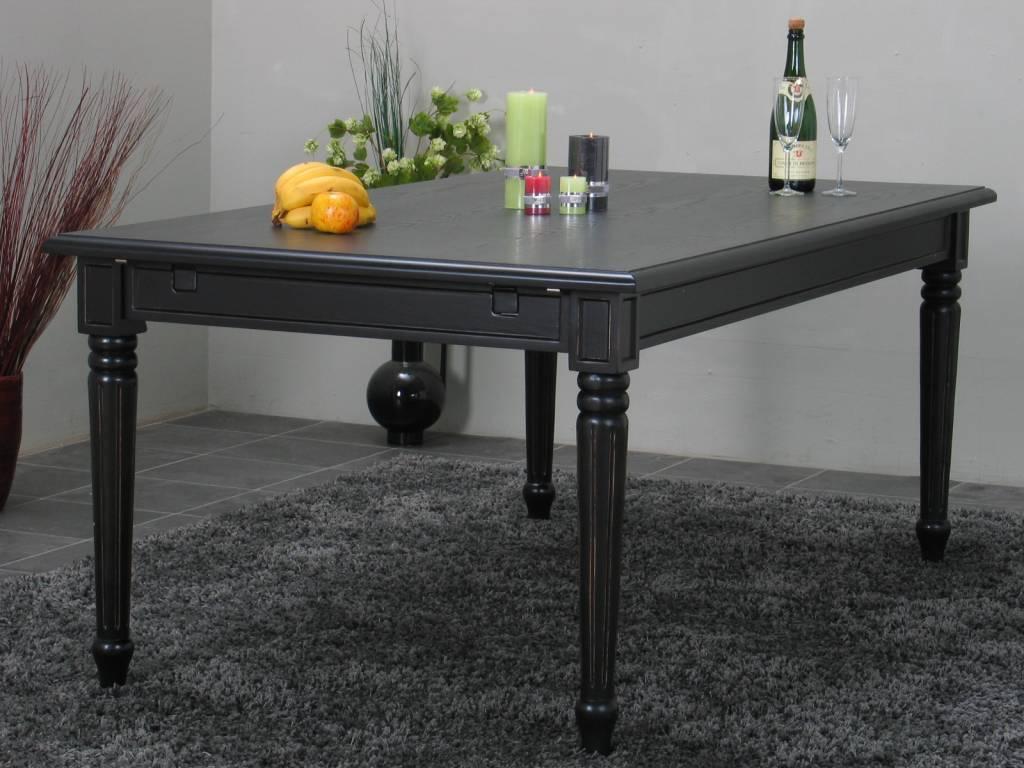 eetkamer zwart mozart zes zwarte barok stoelen rococo