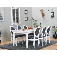 Eetkamer landelijk wit Venetie + zes barok stoelen Rococo