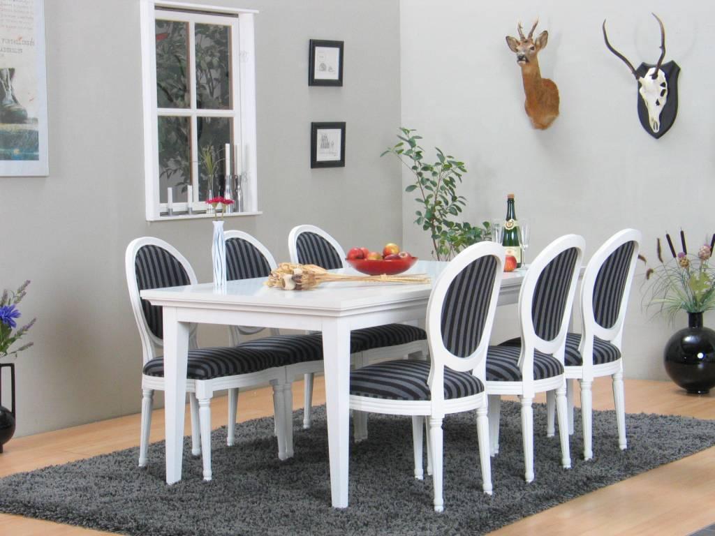 Landelijk witte eetkamer wit Venetie + zes barok stoelen Rococo