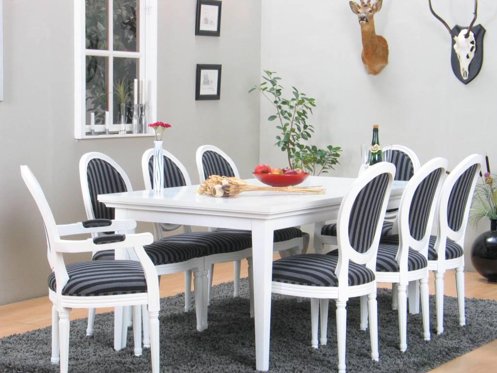 Home Landelijke witte eetkamer Venetie + acht barok stoelen Rococo