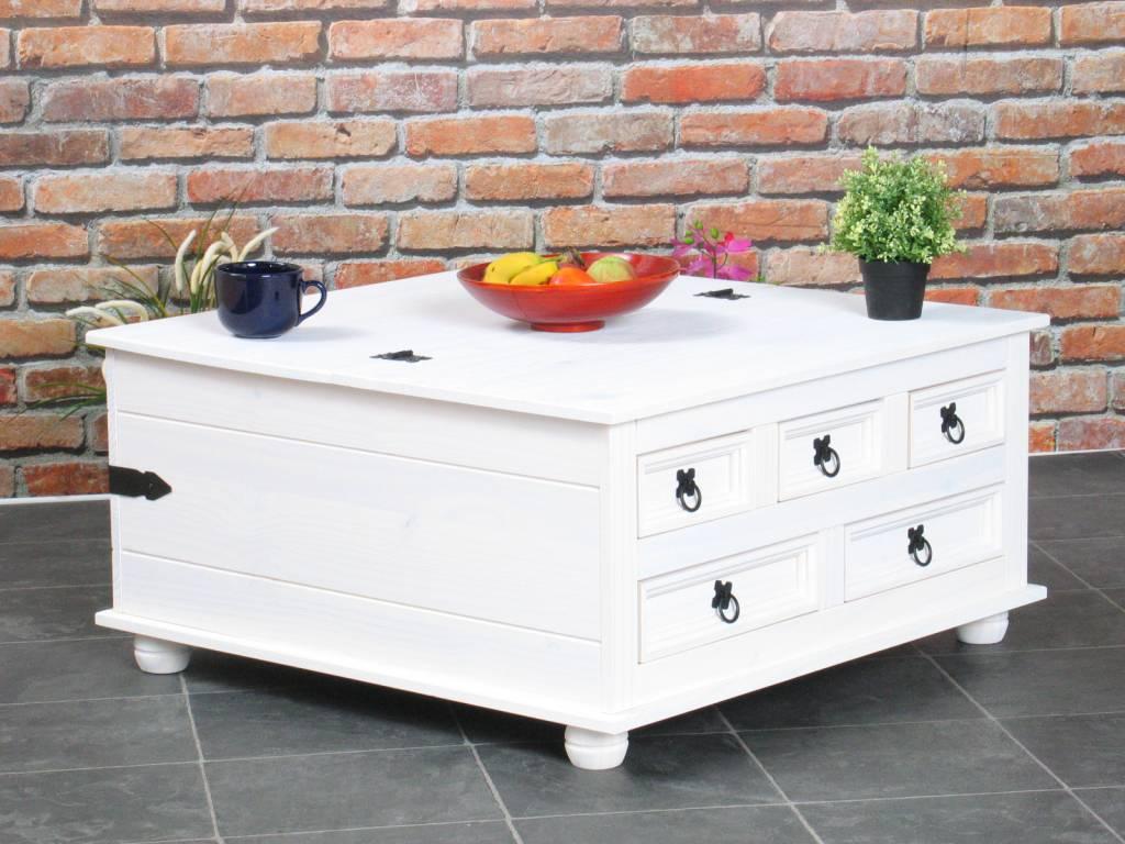 Vierkante salontafel vierkant wit new mexico met lades - Wat op een salontafel ...