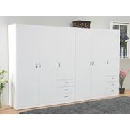 Kleerkast 6-deurs met lades wit 288x176x50 cm Focus