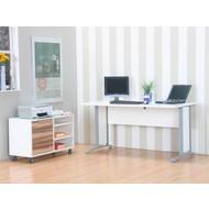 Tvilum Bureau wit hoogglans Prima met ladeblok en legplanken