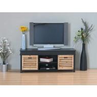 TV meubel zwart 120cm breed, met 2 houten lades, Anna