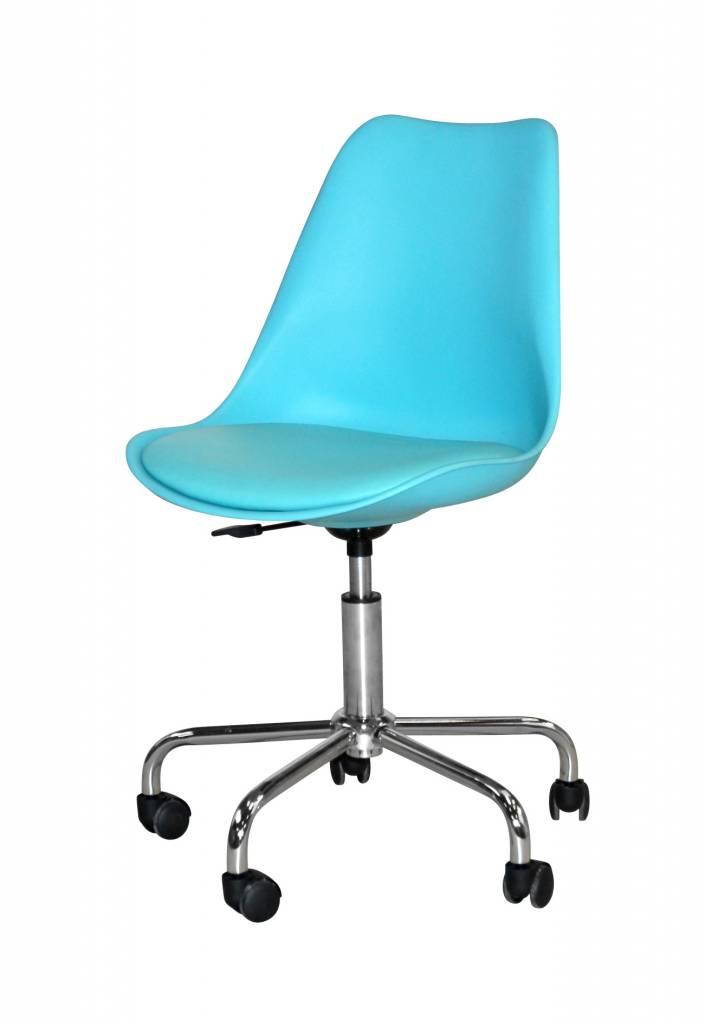 Bureaustoel Melanie design blauw    chroom   Meubeltrefpunt   Altijd thuis