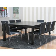Vergadertafel Sirius vierkant zwart met 8 stoelen