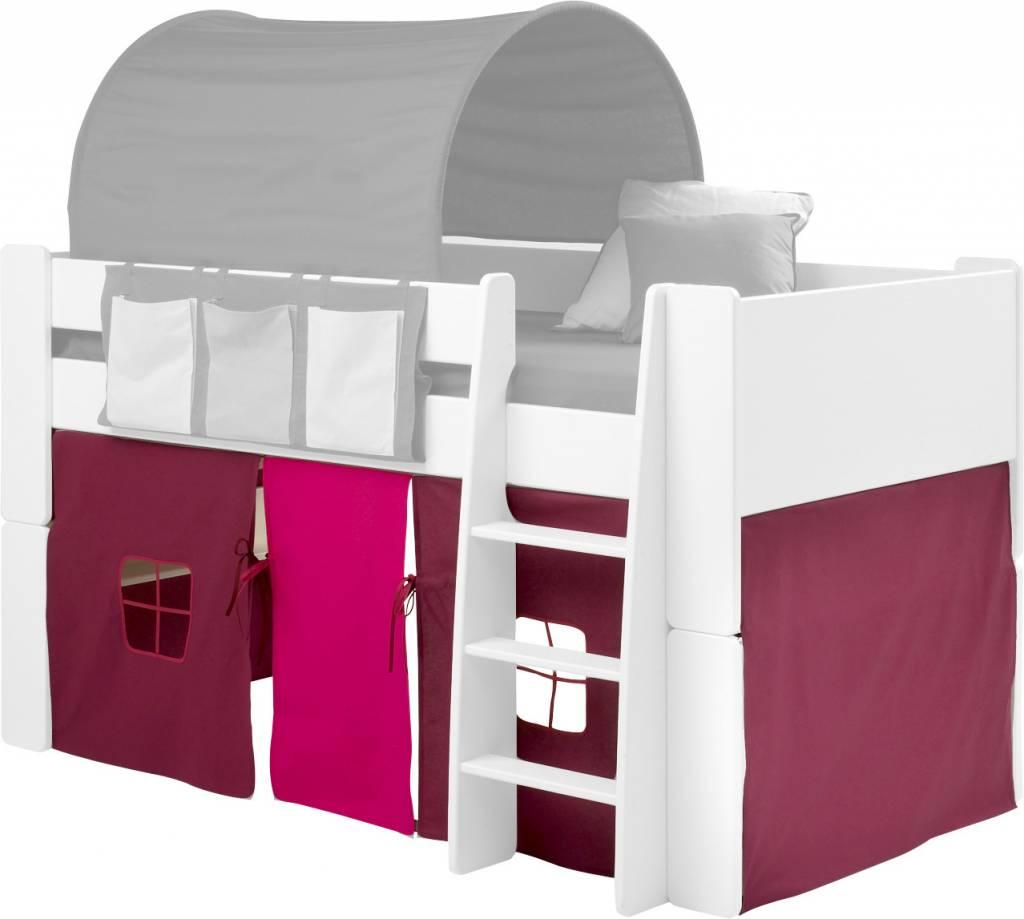 Bed gordijnset lila/roze bij halfhoogslaper Oliver Kids ...