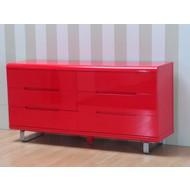Spacy dressoir rood glans met 6 schuiven 160cm breed