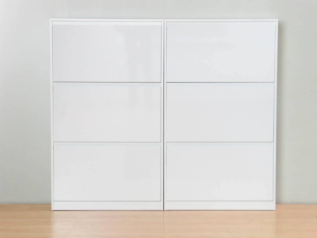 Schoenenkasten wit hoogglans 3-vaks Light, set van 2