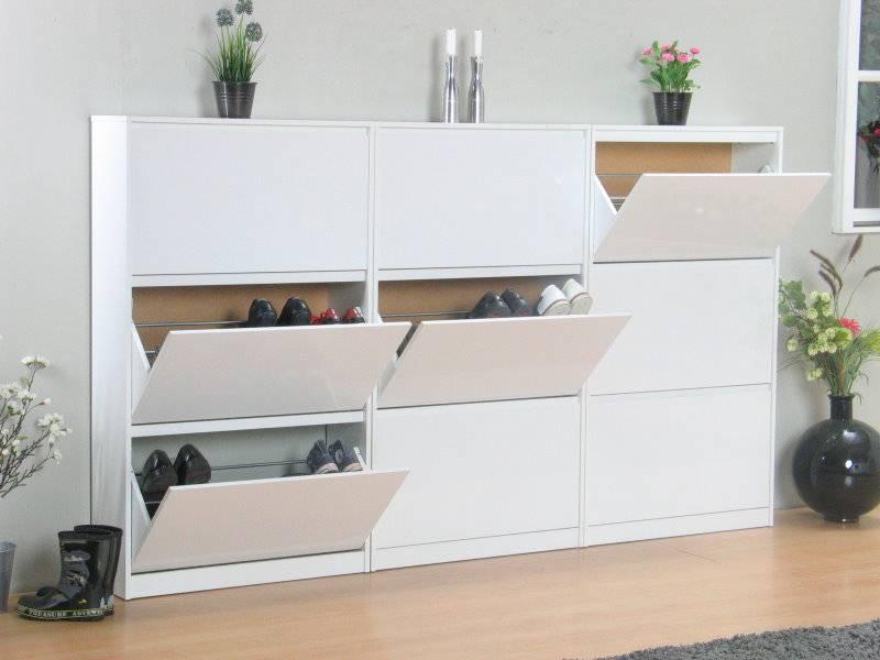 schoenenkasten 3 stuks wit hoogglans light 3 vaks. Black Bedroom Furniture Sets. Home Design Ideas