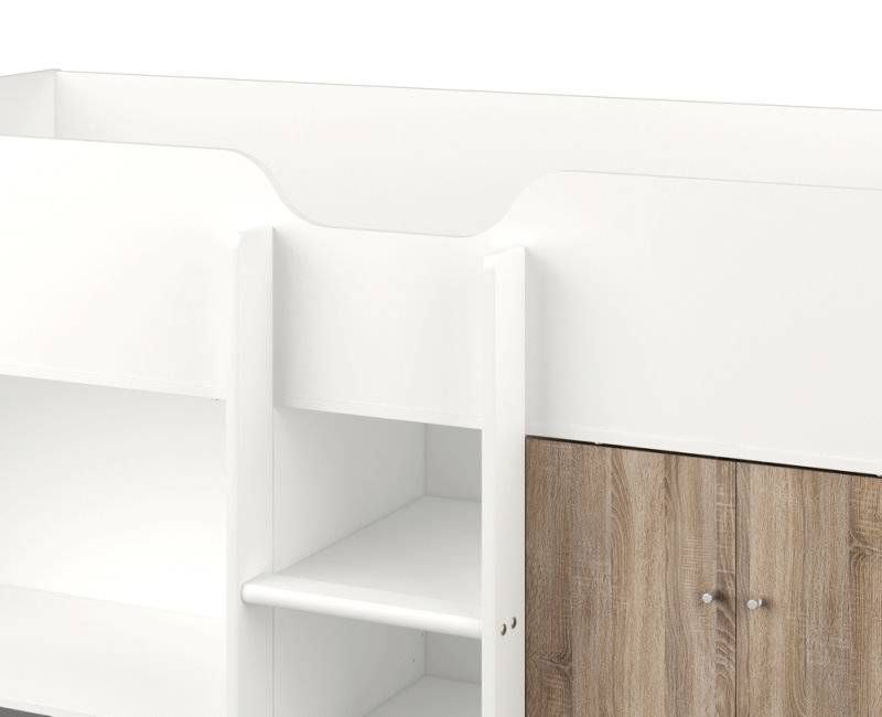 Hoogslaper irma grijs wit met opbergkast en bureau - Gang wit en grijs ...
