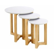 FYN Oryx set van 3 bijzettafels wit hout diameter 50cm