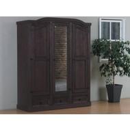 New Mexico 3-deurs kledingkast bruin met spiegel