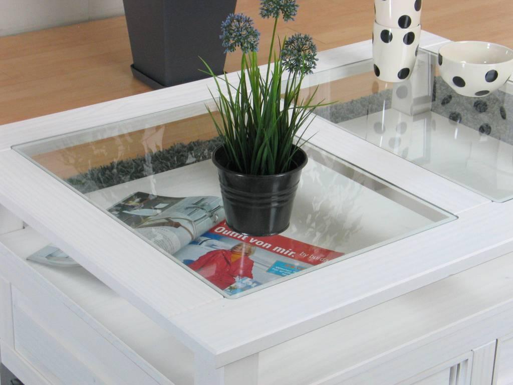 Glazen Plaat Voor Salontafel.Salontafel Wit Met Glazen Plaat Vernstok