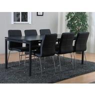 Peak eetkamer mat grijs met 6 zwarte Cube stoelen