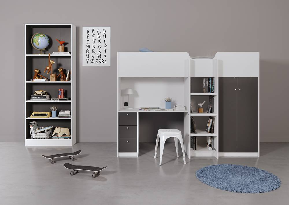 Hoogslaper irma grijs wit met opbergkast en bureau