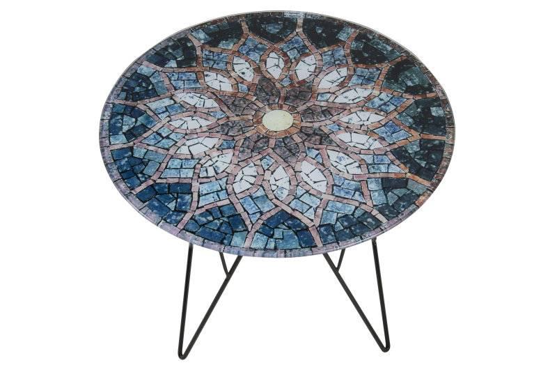 Glazen Bijzettafel Rond : Fyn plymouth bijzettafel rond glas zon mozaïek