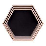 Norrut Genf woondecoratie set van 3 wandrekjes hout-zwart