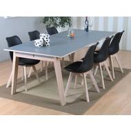 Revolve eethoek - tafel grijs met 6 zwarte kuipstoelen