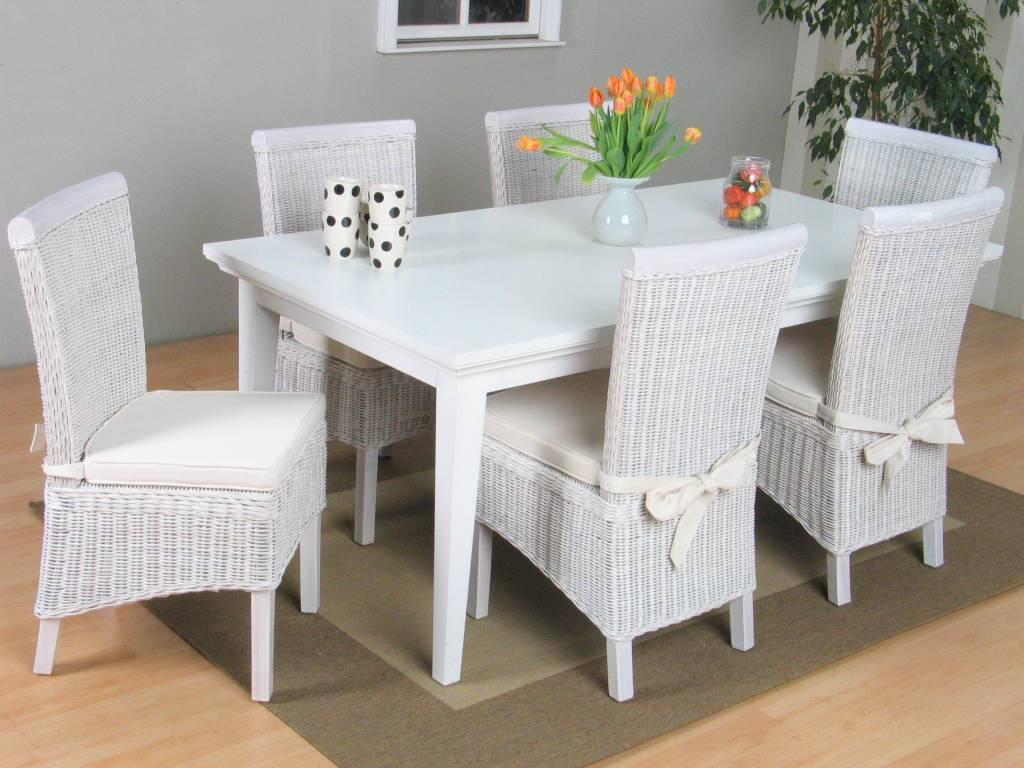 Tvilum veneti eethoek tafel met 6 witte stoelen larissa for Goedkope witte stoelen