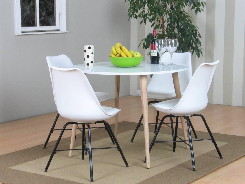 Tvilum napoli eethoek ronde tafel met 4 witte kuipstoelen for Eettafel scandinavisch