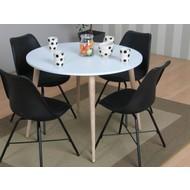 Tvilum Napoli eethoek ronde tafel met 4 zwarte kuipstoelen