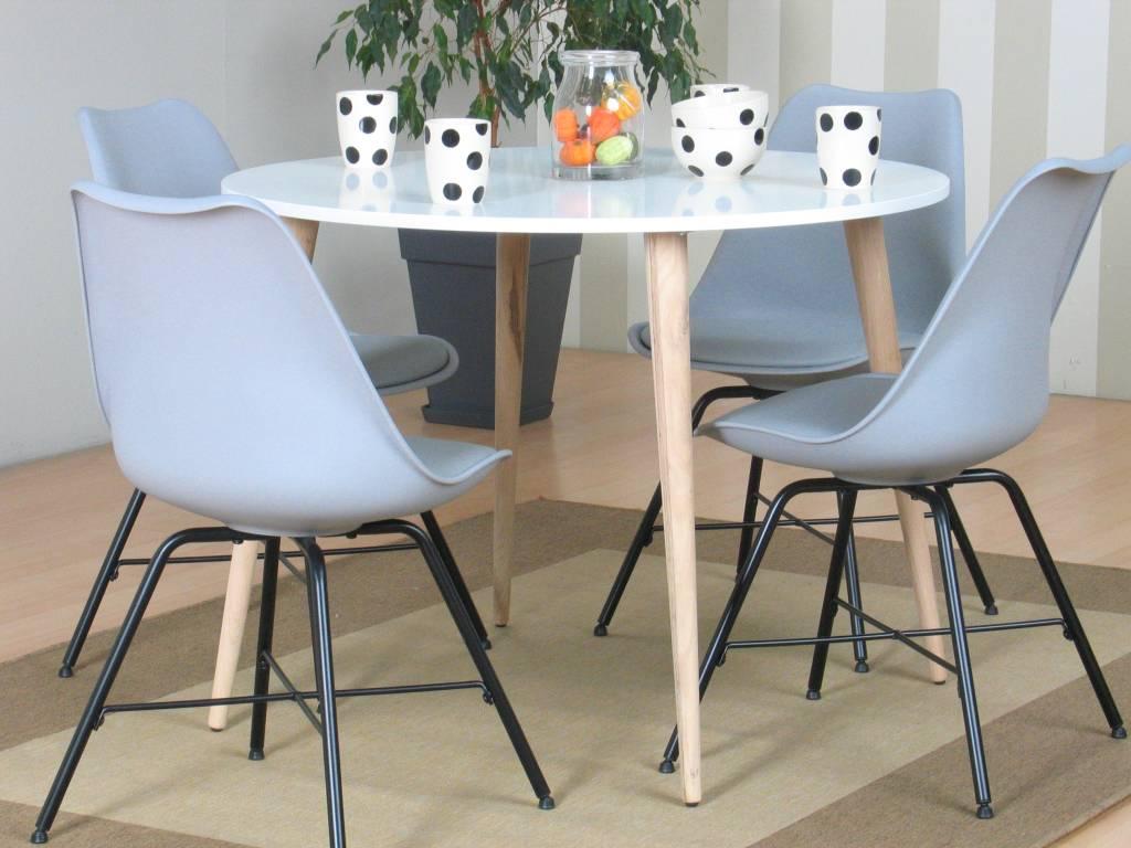 Ronde tafel modern trendy wit en beige voor een ronde tafel met