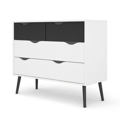 Tvilum Napoli commode ladenkast met 2x2 laden zwart/wit