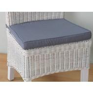 Stoelkussen grijs voor rotan stoel Larissa - 45x42 cm