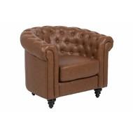 FYN Charlie fauteuil vintage kunstleer - cognac bruin met zwarte poten