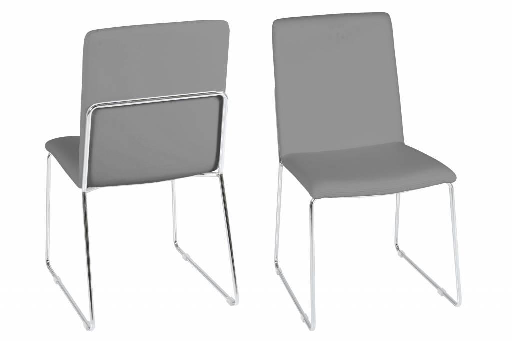 Fyn kris eetkamerstoel pu leer grijs set van stoelen