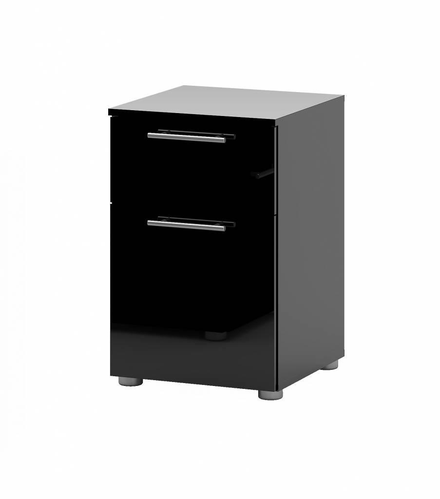 Nachtkastje hoogglans zwart met lade en deur 40x61x41 cm Infiniti   Meubeltrefpunt   Altijd thuis