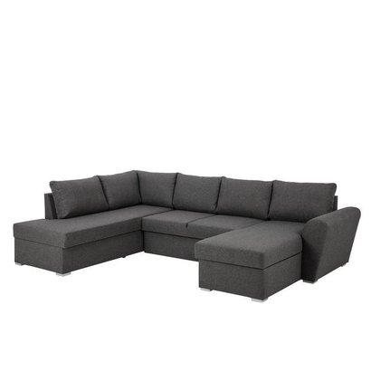 FYN Stan hoekzetel slaapbank met chaise longue rechts en opbergruimte stof grijs