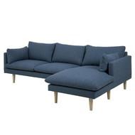 FYN Samanta 2-zits salon met chaise longue rechts stof blauw