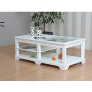 Charlot salontafel wit met glazen blad