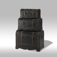 SOLLIDEN Kiras dekenkisten zwart met rond deksel - set van 3
