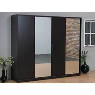 SOLLIDEN Kaja schuifdeurkast 4-deurs kledingkast met spiegel espressokleur