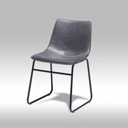 Solliden imalo eetkamerstoel pu leer grijs set van 2 stoelen for Eetkamerstoelen kuipmodel