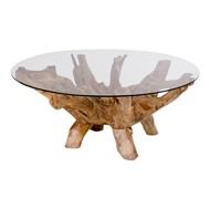 Norrut Amaze salontafel rond teakhout met glazen plaat