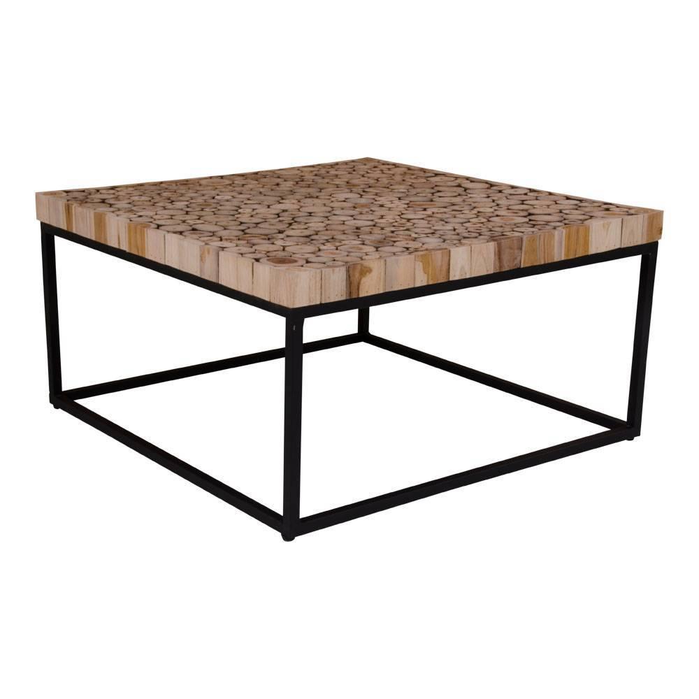 Norrut kruse salontafel vierkant hout met metalen onderstel for Salontafel vierkant