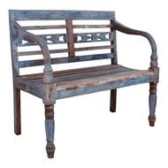 Norrut Rollo zitbank  in hout en gepatineerd blauw