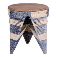 Norrut Sissi hocker rond met blad in mangohout en onderstel in katoen in wit en blauw