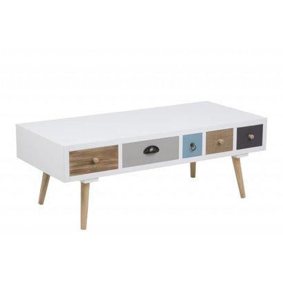 FYN Thijs salontafel houten wit met 5 multicolor lades