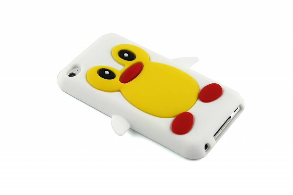 Wit pinguin siliconen hoesje voor de iPod Touch 4g