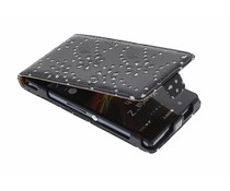 Zwart bloemblad design flipcase Sony Xperia Z