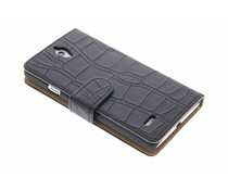 Zwart krokodil booktype hoes Huawei Ascend G700