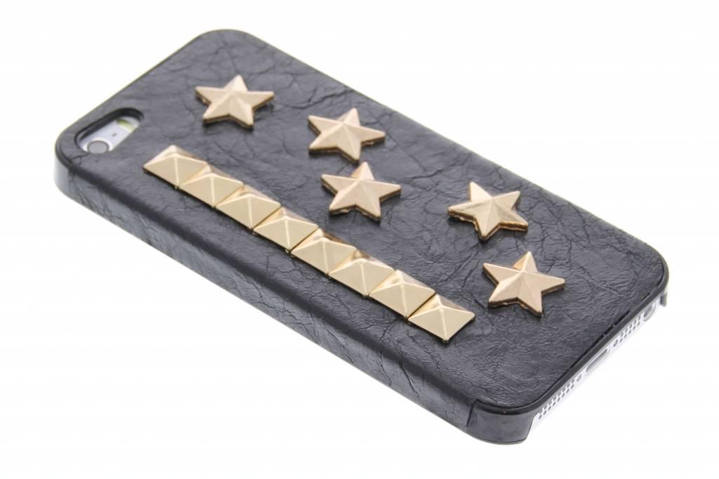 Kunstlederen hardcase hoesje met sterren en studs voor de iPhone 5 / 5s / SE